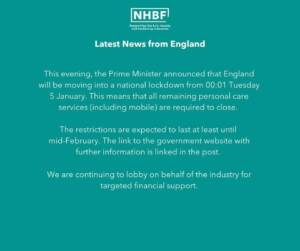 NHBF salon closure announcement